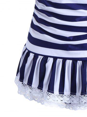 Chic Halter Striped Skirted One Piece Swimwear - XL BLUE Mobile