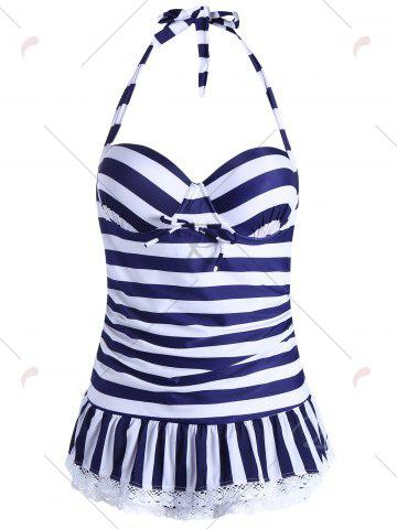 New Halter Striped Skirted One Piece Swimwear - L BLUE Mobile