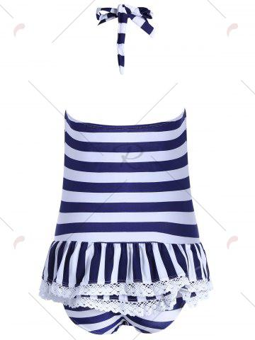 Store Halter Striped Skirted One Piece Swimwear - L BLUE Mobile