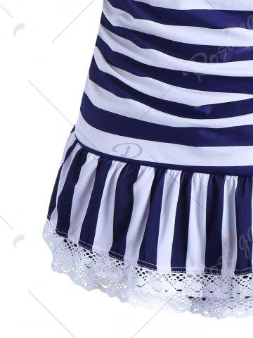 Outfit Halter Striped Skirted One Piece Swimwear - L BLUE Mobile