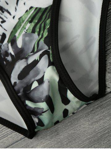 Sale Tropical Print Piping One Piece Swimsuit - L GREEN AND BLACK Mobile