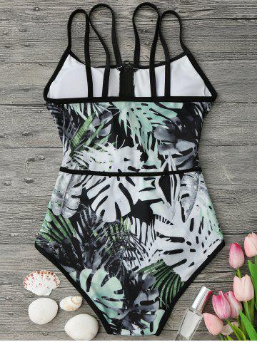 Hot Tropical Print Piping One Piece Swimsuit - L GREEN AND BLACK Mobile