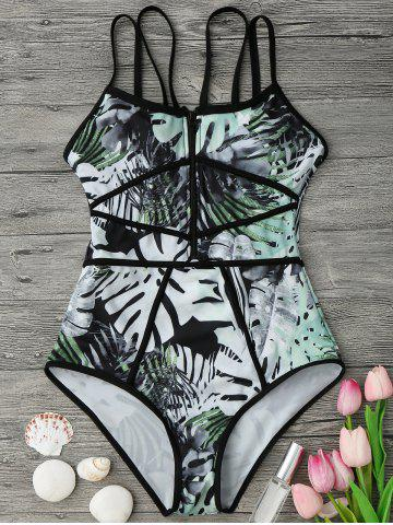 Tropical Print Piping One Piece Swimsuit - Green And Black - M