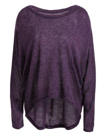 Dolman Sleeve Asymmetrical Sweater - Purple - M