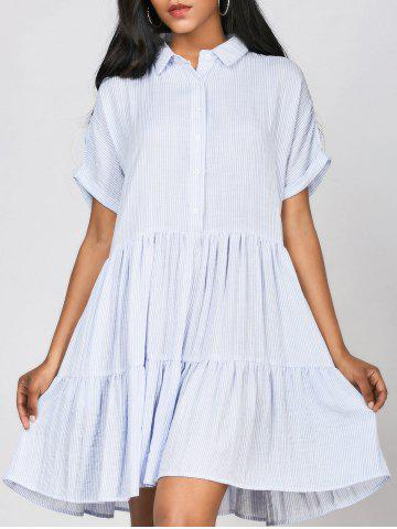 Affordable Striped Ruffles Casual Shirt Dress