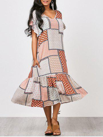 Tribal Print Ruffles Midi Dress