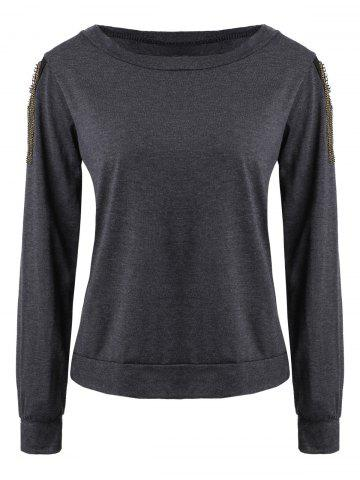 Long Sleeve Jewel Neck Solid Color T Shirt