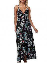Floral Backless Chiffon Maxi Slip Dress - BLACK
