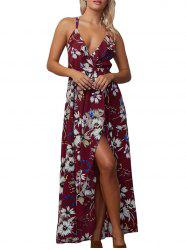 Floral Backless Chiffon Maxi Split Slip Beach Dress - WINE RED