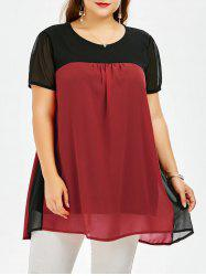Colorblock Plus Size Chiffon Smock Top