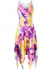 Feather Print Handkerchief Dress - COLORMIX