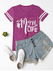 V Neck Letter Print Striped Tee