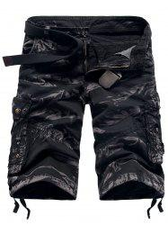 Camouflage Zipper Fly Pockets Straight Leg Cargo Shorts