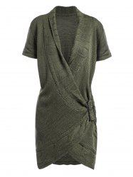 Shawl Collar Buckled Surplice Sweater Dress - ARMY GREEN