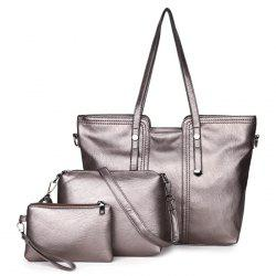 3 Pieces Faux Leather Shoulder Bag Set