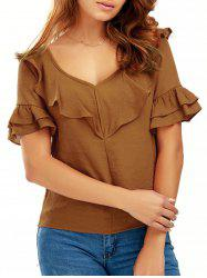 Flare Sleeve V Neck Chiffon Top
