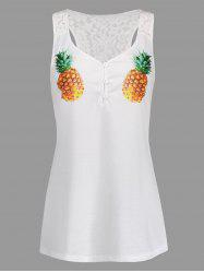 Lace Insert Half Button Pineapple Racerback Tank