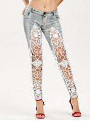 Openwork Low Waist Lace Panel Jeans - COLORMIX