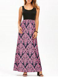 Long Maxi Printed Tank Summer Dress - ROSE PÂLE