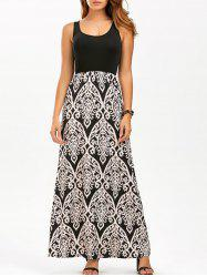 Maxi Printed Tank Summer Dress - BEIGE