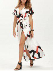 Geometry Surplice Maxi Summer Dress