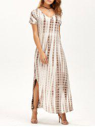 Side Slit Tie Dye Maxi Dress with Pockets - YELLOWISH PINK