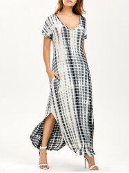 Side Slit Tie Dye Maxi Dress with Pockets - BLACK AND GREY