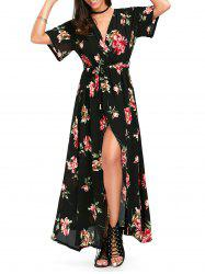 High Split Chiffon Maxi Flower Surplice Dress