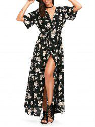 Tiny Floral High Split Maxi Surplice Dress