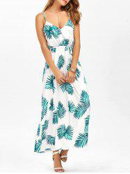 Leaf Print Cut Out Belted Cami Dress -