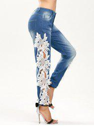 Lace Panel Hollow Out Jeans - BLUE AND WHITE