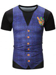 Feather Waistcoat 3D Printed Checked Tee