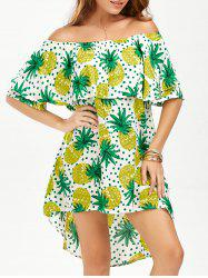 Pineapple Polka Dot High Low Flounce Dress