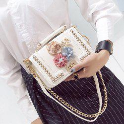 Chain Bead Flowers Crossbody Bag - WHITE