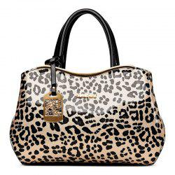 Leopard Print Metal Trim Handbag - BLACK
