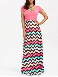 Chevron Print Short Sleeve Maxi Party Dress - LIGHT PINK