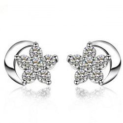 Rhinestone Star Moon Tiny Stud Earrings