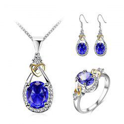 Faux Gem Rhinestone Heart Teardrop Jewelry Set