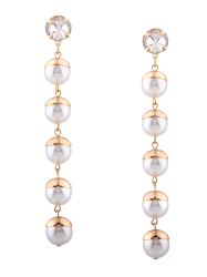 Faux Pearl Rhinestone Long Drop Earrings