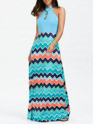 Chevron Print Sleeveless Maxi Dress