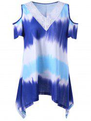 Asymmetrical Cold Shoulder Tie Dye T-Shirt