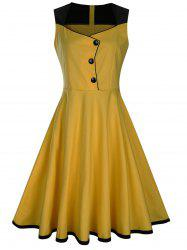Sleeveless Button Embellished Vintage Dress