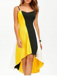 High Low Color Block Slip Dress - YELLOW