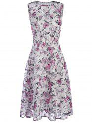 Tiny Floral Print Chiffon Sleeveless Dress