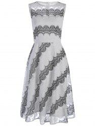 Lace Print Chiffon Sleeveless Dress