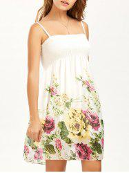 Shirred Floral Print Slip Mini Dress - Blanc