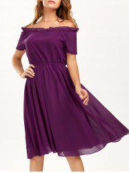 Off The Shoulder Ruffle Chiffon A Line Dress