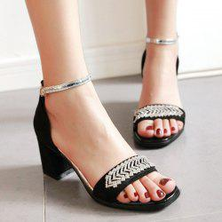 Ankle Strap Rhinestones Chunky Heel Sandals