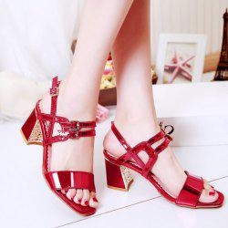 Patent Leather Buckle Straps Sandals