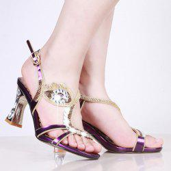 Strange Style Rhinestones Sandals - PURPLE
